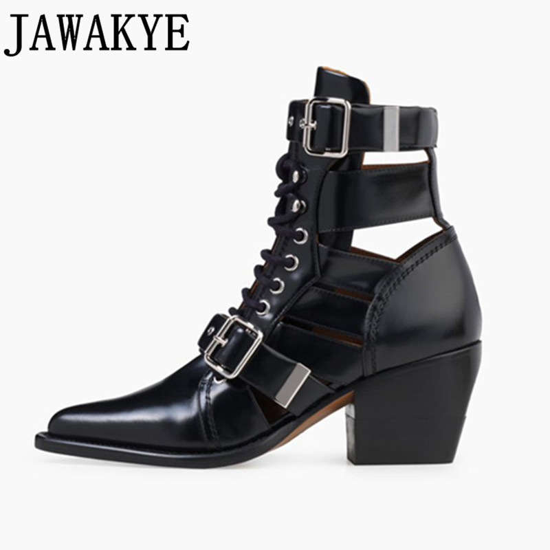 2018 Autumn genuine Leather ankle boots for women strappy cut out Buckle Straps high Heels Motorcycle