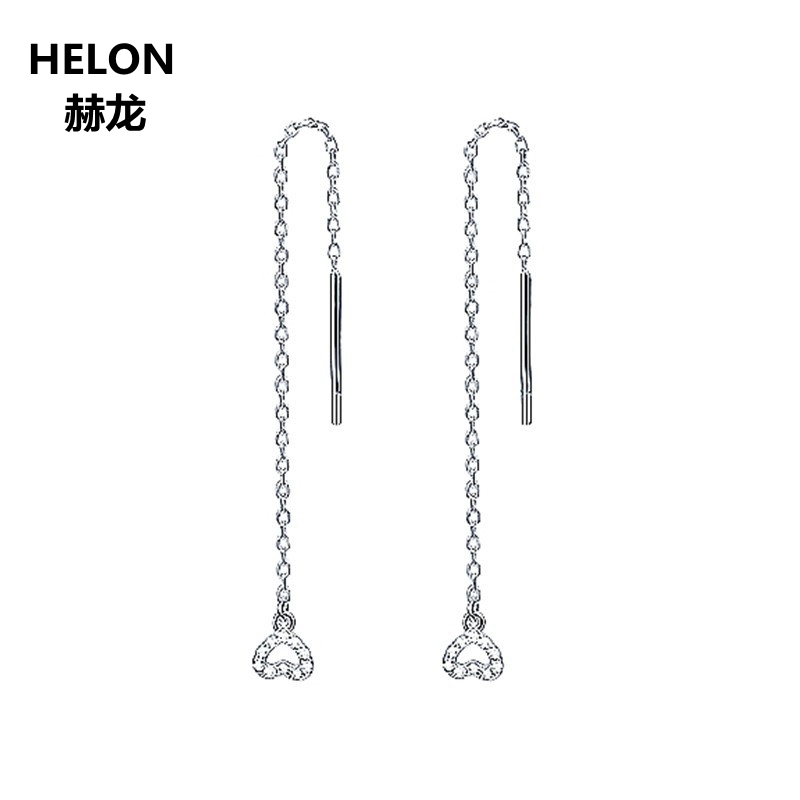 18K Solid White Gold SI/H Natural Diamonds Drop Earrings for Women Trendy Heart Shape Engagement Wedding Party Fine Jewelry смартфон prestigio wize k3 green psp3519duogreen