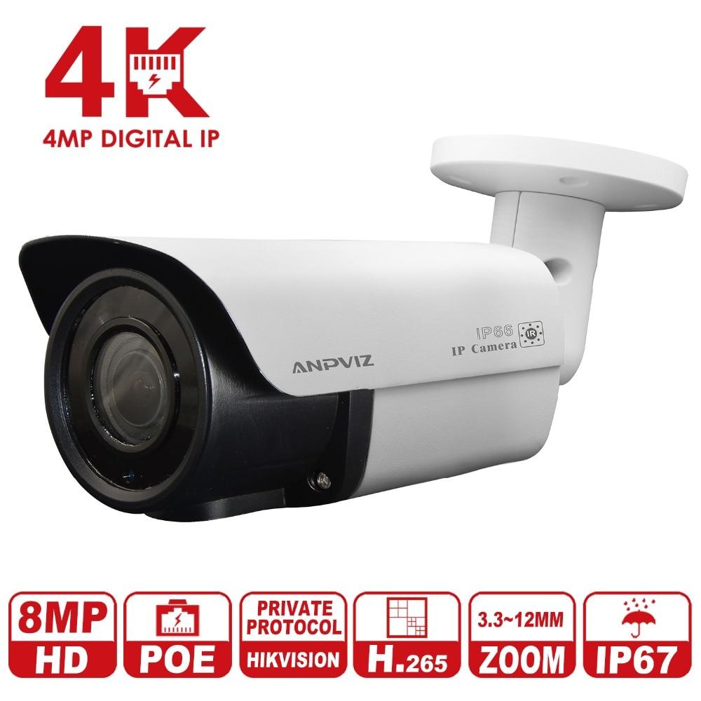 Nouveau Anpviz 8MP Bullet IP Caméra 4 k Vari-Focus 3.3-12mm lentille CCTV Vidéo Surveillance Caméra h.265 Boîtier Métallique Détection de Mouvement