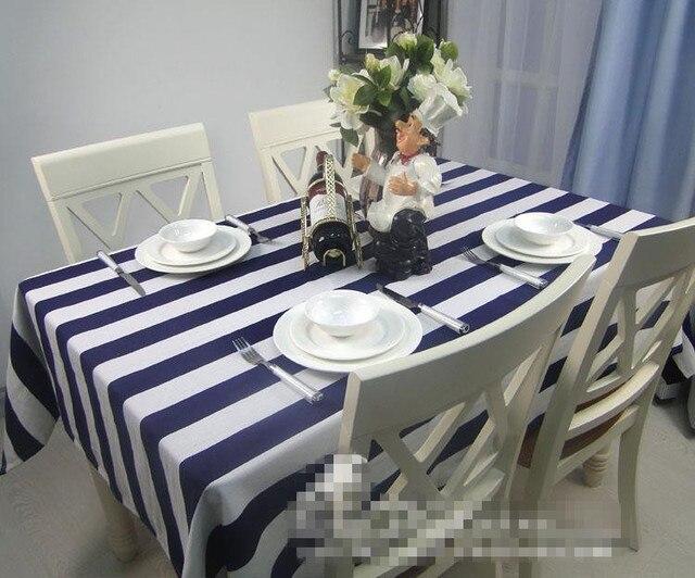Moderno clásico blanco y azul marino raya lienzo Mesa paño tienda ...