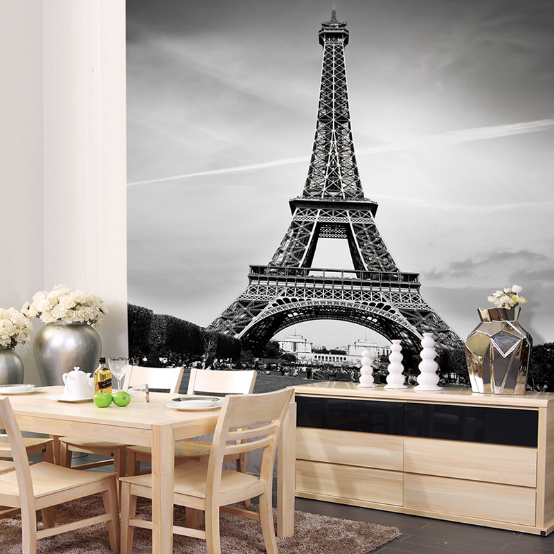Custom canvas art france paris poster paris wallpaper for Eiffel tower wall mural black and white