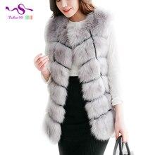 Plus size slim fashion 2016 imitation Faux fox fur vest sleeveless open stitch coat long faux fur waistcoat 9 colors YT105