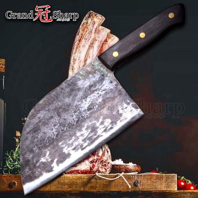 Handmade Forged Chef Knife Clad Steel Forged Chinese Cleaver Professional  Kitchen Knives Meat Vegetables Slicing Chopping Tool