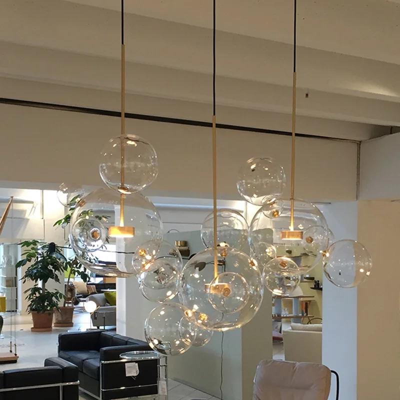 Clear Glass Ball Living Room Chandeliers Art Deco Bubble Lamp Shades Chandelier Modern Indoor Lighting Restaurant Chandeliers