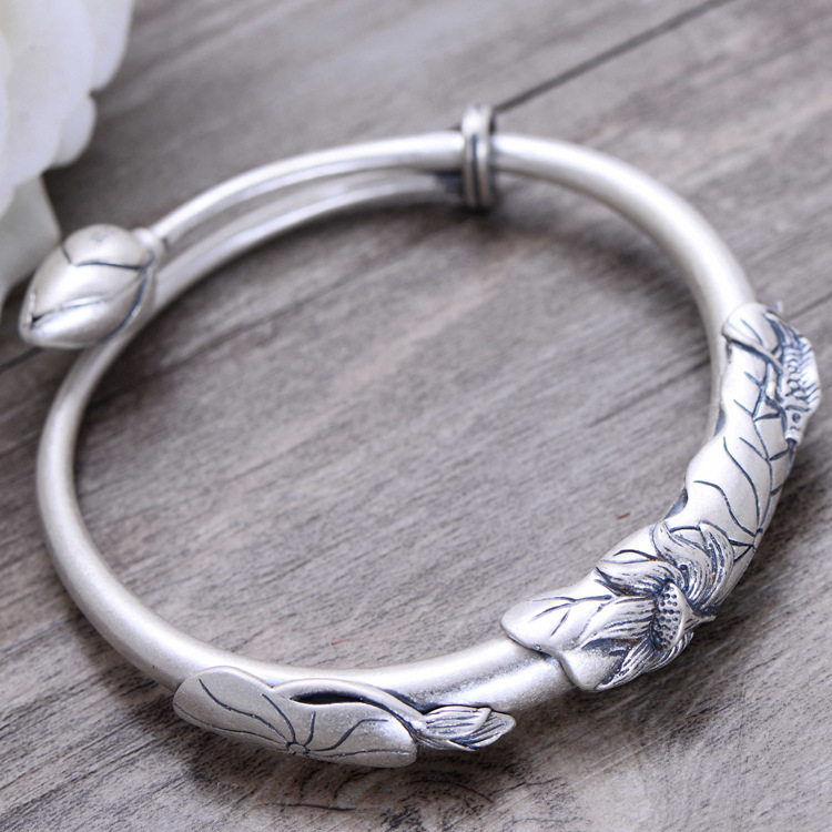 KJJEAXCMY fine jewelry 999 pure silver art restoring ancient ways lotus - covered fish bracelet national style bracelets magic fish bracelets