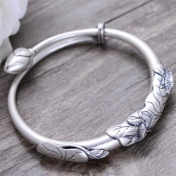 KJJEAXCMY fine jewelry 999 pure silver art restoring ancient ways lotus - covered fish bracelet national style bracelets