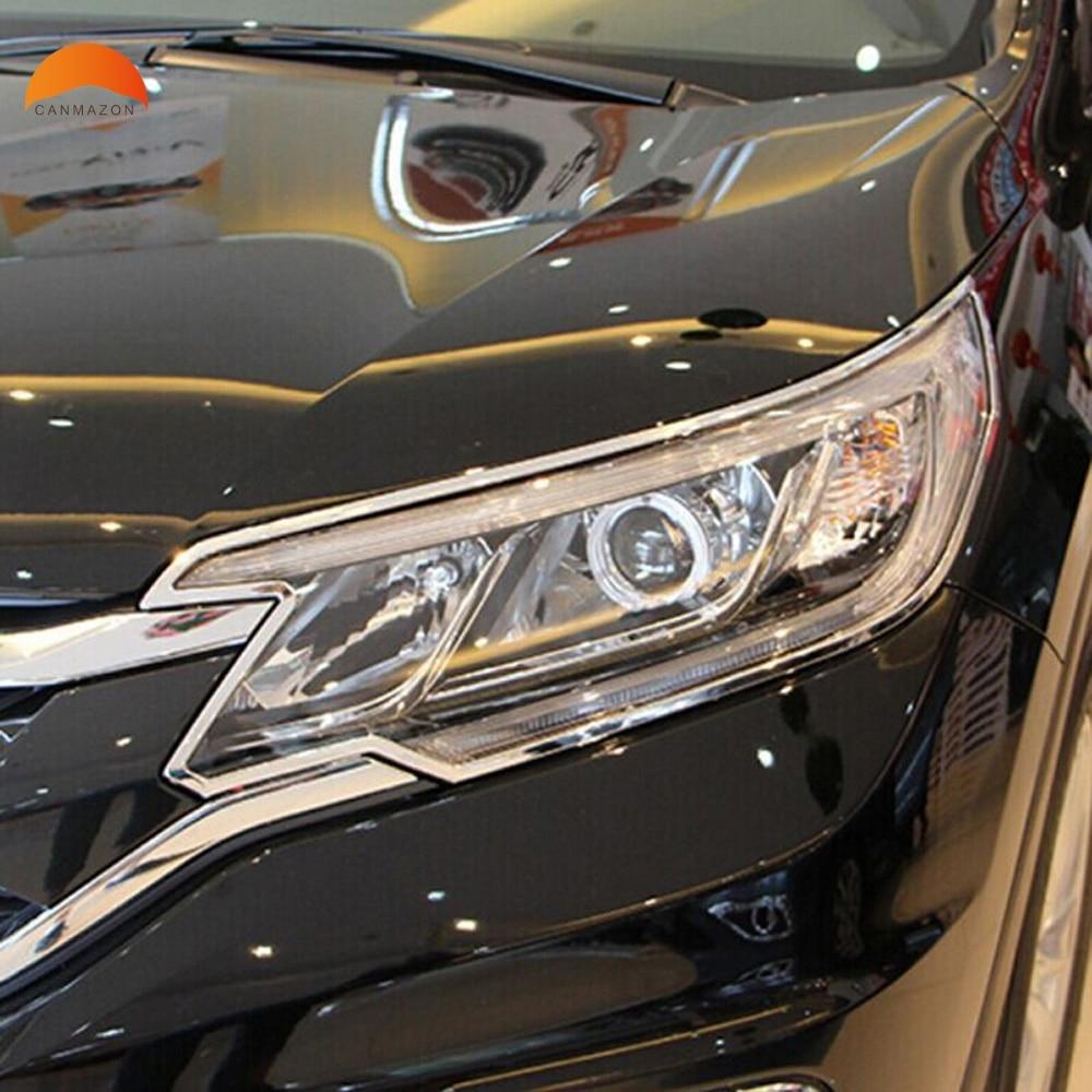 For Honda CRV 2015 2016 ABS Chrome Headlight Lamp Shade Front Light Lamp Cover Auto Lamp Hoods Covers Decorations 2 PCS 2013 kia sorento abs chrome front 2 pcs headlight lamp cover rear 4 pcs lamp cover