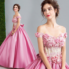 Pink Quinceanera Dresses For 15 Years Long 3D Flowers Pearls Sweet 16 Dresses Ball Gown Corset Party Gowns Vestido De Debutantes