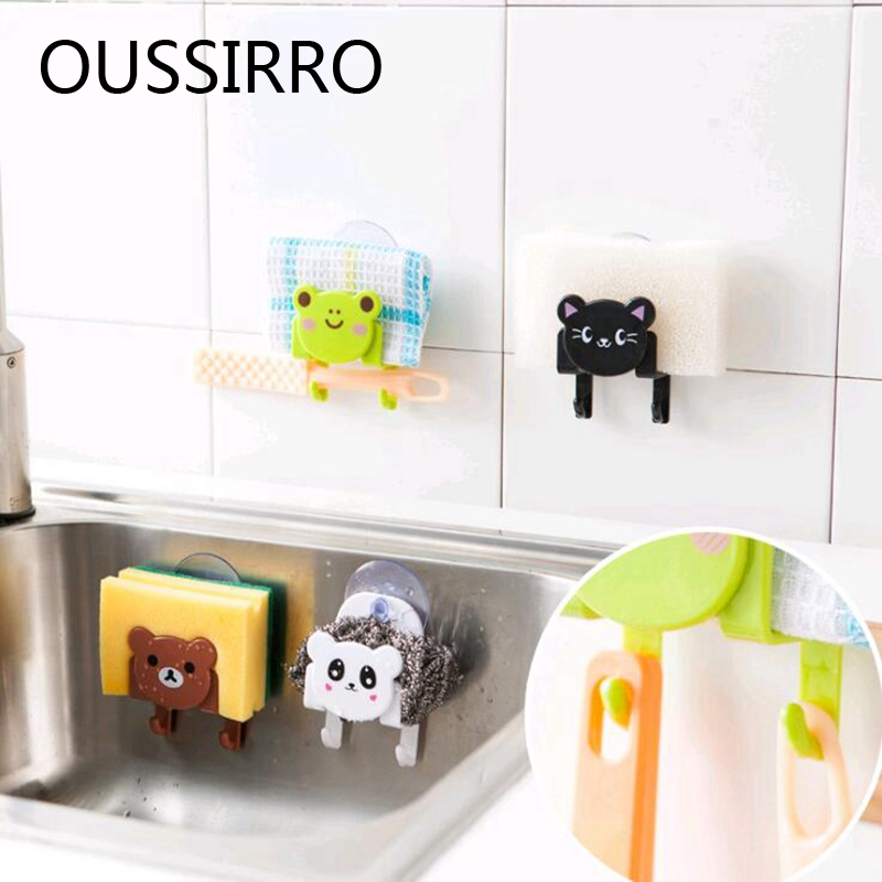 Sponge Towel Storage Holder Suckers Hook Soap Shelf Organizer Bathroom Kitchen Suction Cup Storage Rack Hangers Towel Sucker