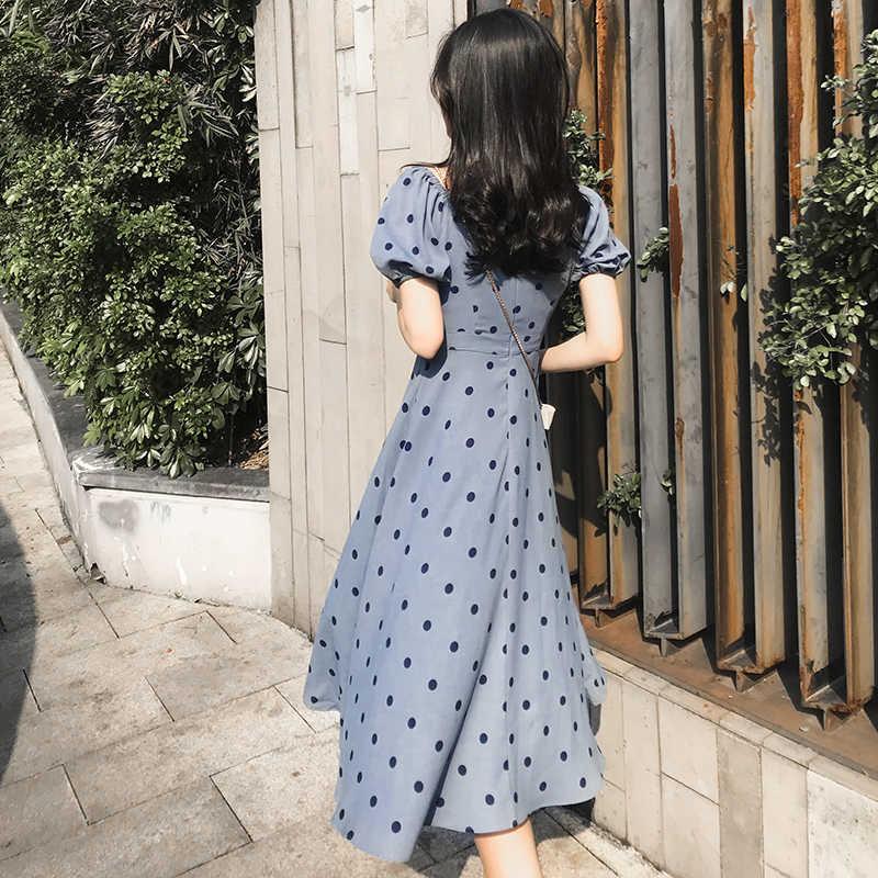 GareMay 2019 Zomer Jurk Vrouwen Midi Party Koreaanse Stijl Mode Half Mouw Vintage Chiffon Casual Dot Lange Jurken voor Vrouwen