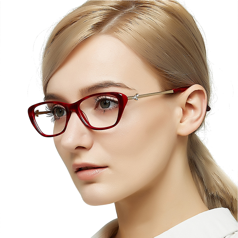 Nerd Spectacle Frame Vogue Diamond Clear Glasses Frames Black Myopia Prescription Optical Eyewear Women Gift MARE AZZURO OC7031 in Women 39 s Eyewear Frames from Apparel Accessories
