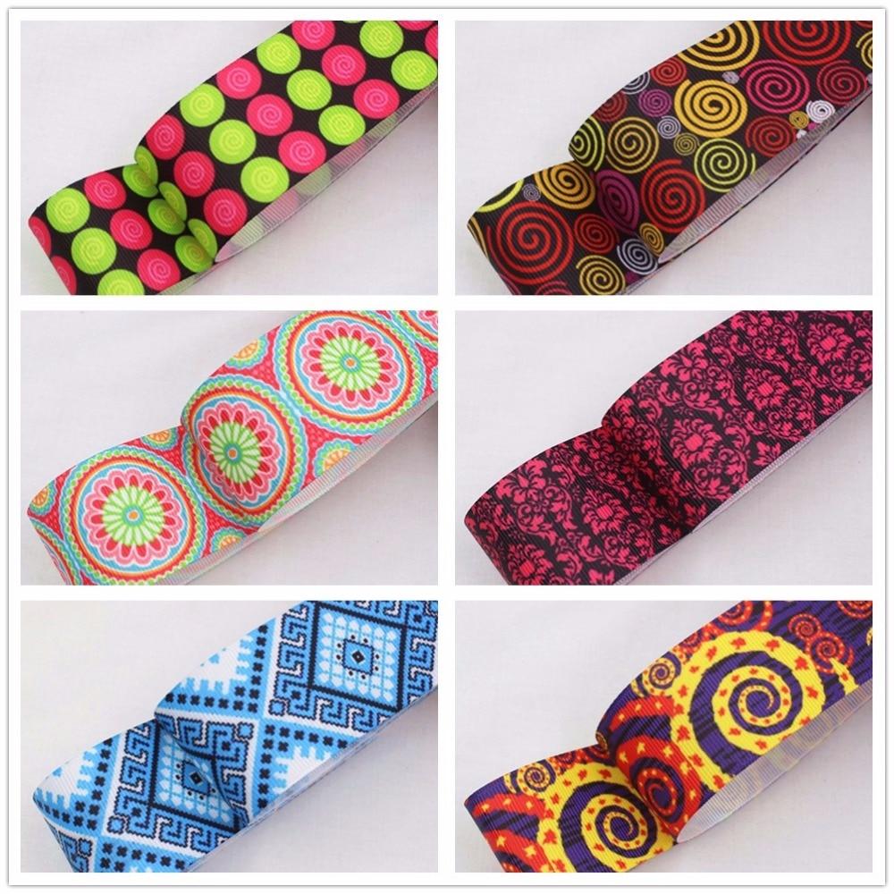 16105H53 , 38MM flowers Geometric patterns Printed grosgrain ribbon, DIY handmadeHair accessories Material wedding gift wrap