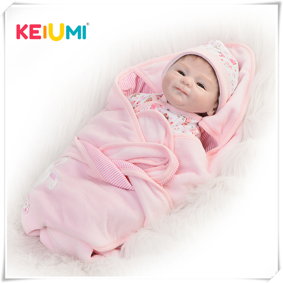 So Lovely 16 Inch Reborn Baby Doll Toy Real Like Smile Girl Soft Silicone Reborn Babies Alive bebe Cloth Body Reborn Boneca Doll 22 inch babies reborn silicone collection bebe reborn the silicone girl body bebe reborn doll pp cotton body reborn babies