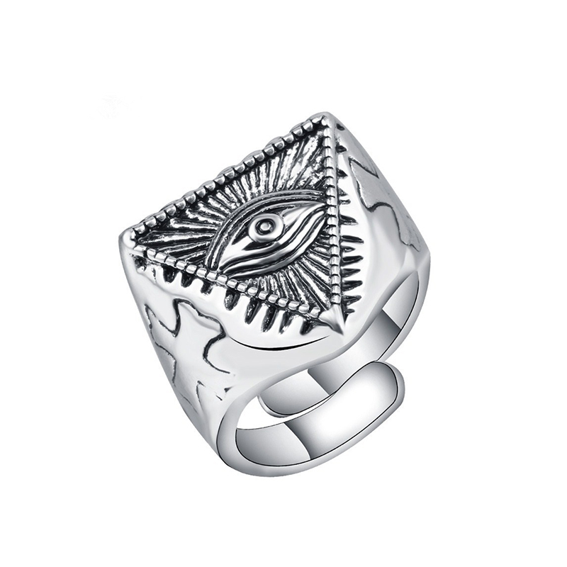 Utimtree Hot Carved Cross Shape Ancient Silver Color Geometric Rings For Man Bands Party Jewelry Punk Neo Geothic Finger Ring
