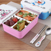 Cute Cartoon Double Layer For Kids Food Container Lunch Boxs Stainless Steel Picnic Food Storage Box