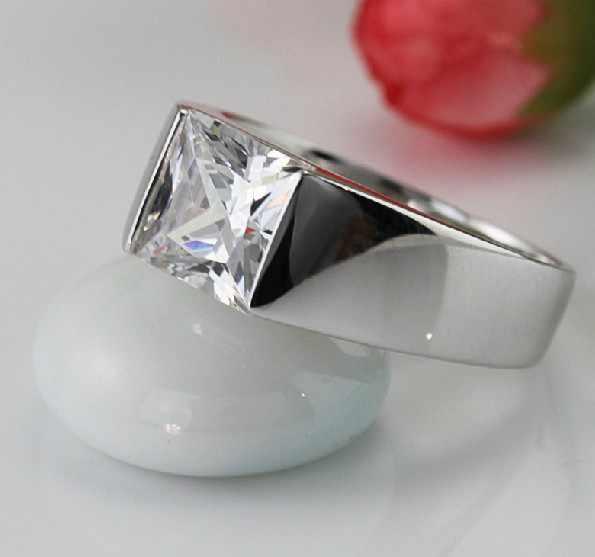 Cuadrado brillante generoso de la joyería de los hombres 2Ct NSCD encantador anillo de diamantes para hombre joyería de plata esterlina Pt950 imprimir Placa de platino