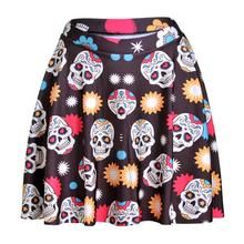 Colorful Skull Women Sexy Pleated Skirts Tennis Bowling Bust Shorts Skirts Flowers Skull Female Fitness Sport Apparel A Style