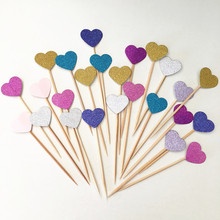 100 PCS Free Shipping Cheap Colorful Glitter Heart Birthday Wedding Party Cupcake Toppers (STCT-003) free shipping 10pcs m7603b 003