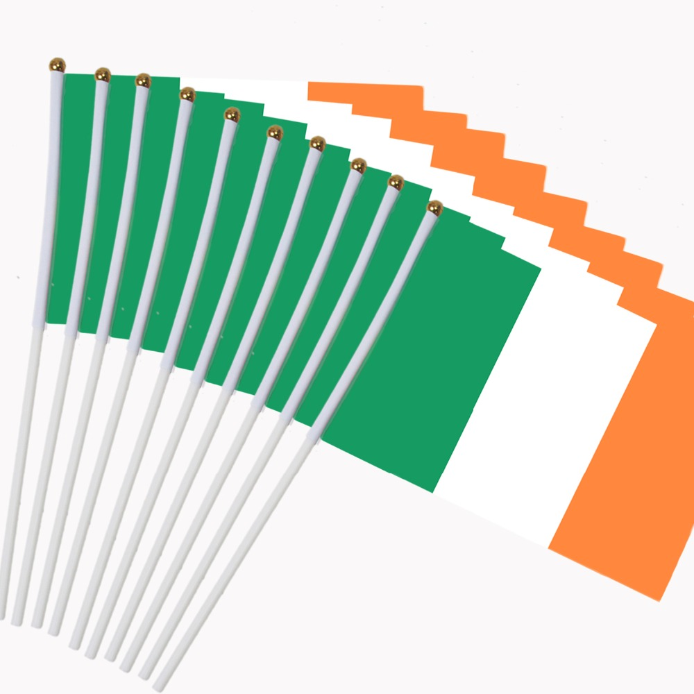 14x21cm 10pcs The Irish Flag Hand Waving Flags With Plastic Flagpoles  NC017