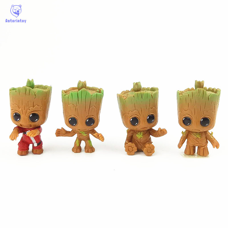 4pcs/set New Cute Brinquedos Guardians Of The Galaxy Mini Cute Groot Baby Tree Model Action And Toy Figures Cartoon Cake Doll new arrivals hote cute guardians of the galaxy 2 groot statue figure collectible model toy 9 types children gifts