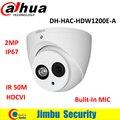 Original Dahua HDCVI Camera DH-HAC-HDW1200E-A 2MP HD1080P IR 50m built-in MIC IP67 CCTV Security Dome Camera HAC-HDW1200E-A