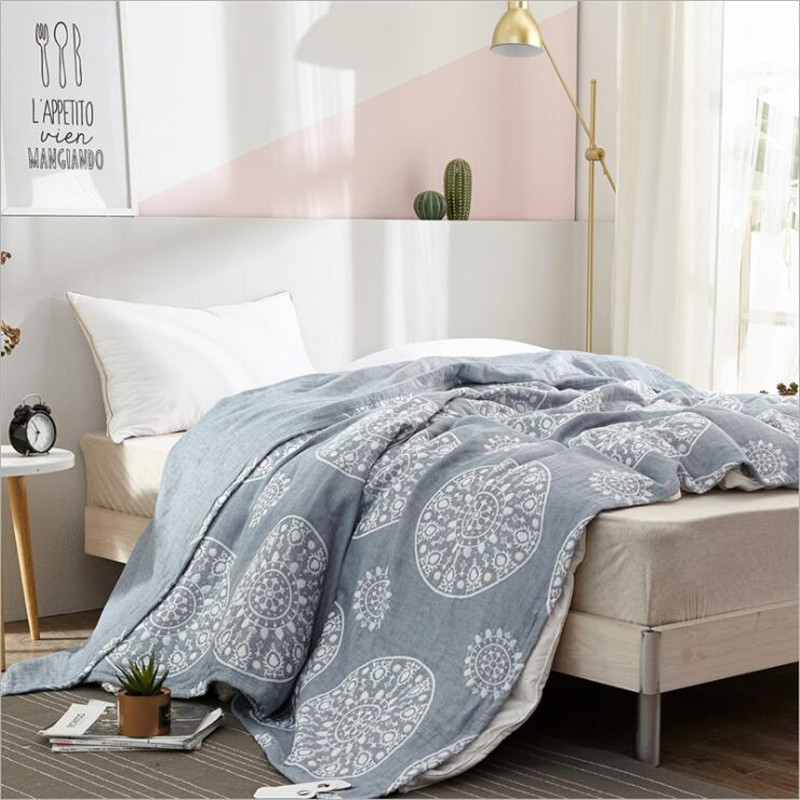 New Style Popular Summer 100% Cotton 4 Layers Gauze Machine Wash Jacquard Blanket Thin Air-conditioning Cover Blanket 150*200cm