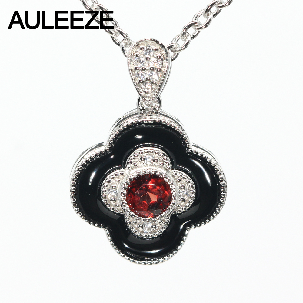 Lucky Four Leaf Clover Natural Garnet Pendant 925 Sterling Silver Genuine Gemstone Pendant Necklace Match 16' Silver Necklace new to 925 pure silver natural shell four leaf clover necklace pendant hot selling pure silver jewelry for women