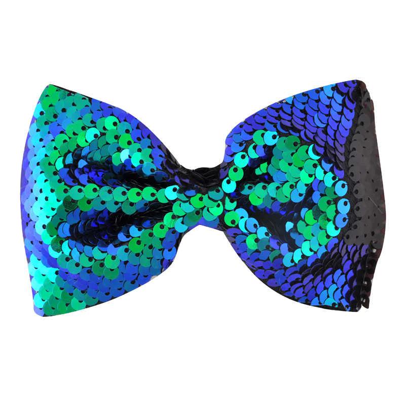 1PC Meisjes 4.7inch DIY Patroon Flip Sequin Haar Boog Omkeerbare Mermaid Sequin Vrouwen Haar Clips Haarspelden Kinderen Haar accessoires
