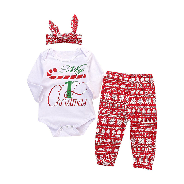 bd6c6ab72f5e 3PCs Newborn Infant Baby Boys Girls Long Sleeve T shirt Romper+ ...