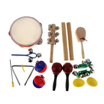 16pcs/lot Musical Instruments Set Kindergarten Kids Early Education Tambourine 10 Kinds Drum Percussion Toys / Gifts