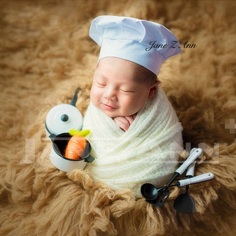 9b90f153134 ... Jane Z Ann Baby Photography Props Little Chef Hat White Stretch Wrap  Little Cook creative props ...
