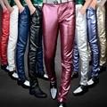 Calças pés Magros dos homens de couro personalizado moda clube do punk dos homens locomotiva calças de couro PU YF148