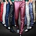 Pantalones hombres Adelgazan los pantalones pies del club de moda de cuero personalizada hombres punk locomotora PU pantalones de cuero YF148