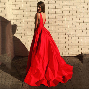 Hot sale evening prom party dresses Vestido de Festa gown Robe De Soiree pockets V-opening sexy vestido de casamento long frock 2