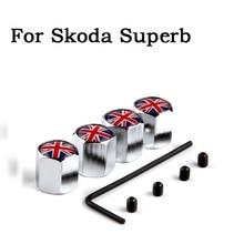 4x United Kingdom Flag Wheel Tire Tyre Valve Stem Air Dust Caps Anti-Theft Cover For Skoda Superb