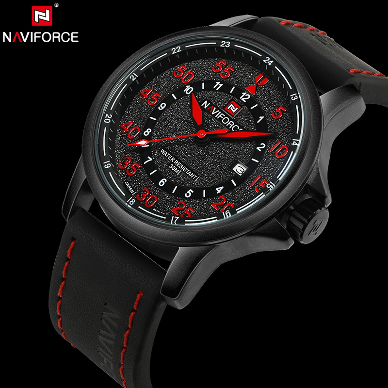 NAVIFORCE Original Luxury Brand Waterproof Quartz Watches Men Date Clock Leather Army Military Wristwatch Relogio Masculino