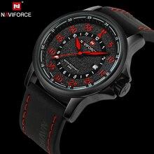 NAVIFORCE D'origine Marque De Luxe Étanche Quartz Montres Hommes Date Horloge En Cuir Armée Militaire Montre-Bracelet Relogio Masculino