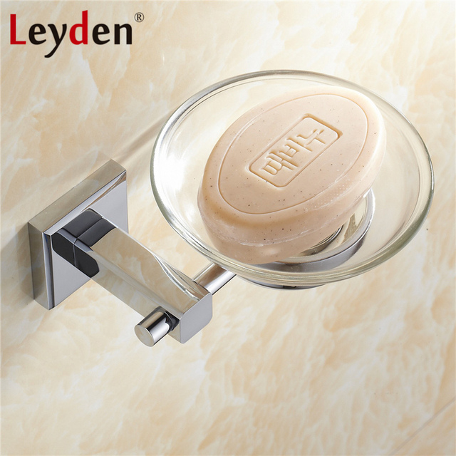 Leyden Bathroom Soap Holder Copper Soap Dish Wall Mounted Chrome Shower Soap  Dishes Holder Glass Dishes