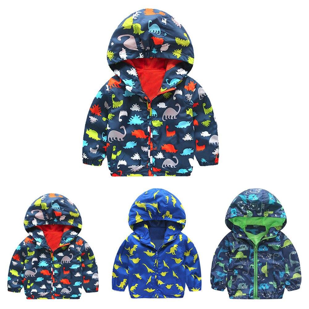 Детские Подпушка для малышей Обувь для девочек Обувь для мальчиков динозавра с капюшоном на молнии пальто куртка-плащ плотная теплая одежд...