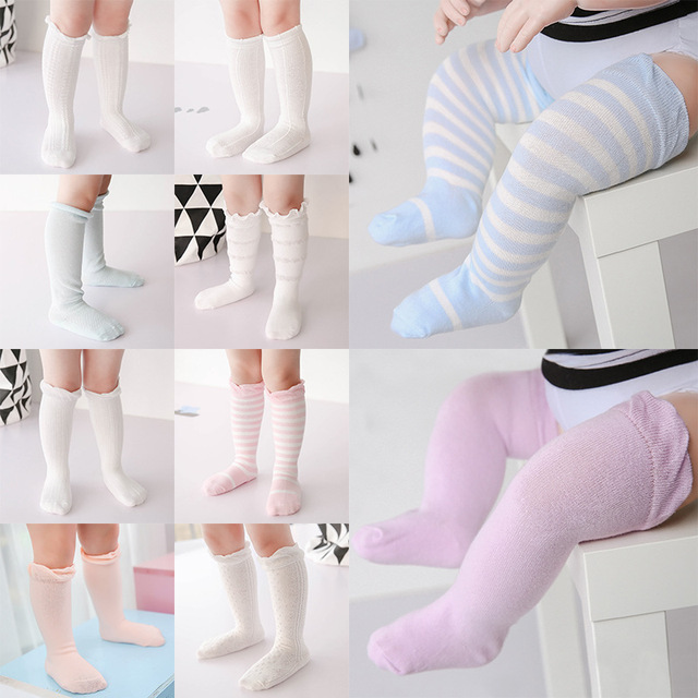 3e68902e4c7 Baby Boy Girl Stocking Spring Newborn Toddler knee high socks cotton  Striped Solid Stockings for newborns infant 10 Pairs lot