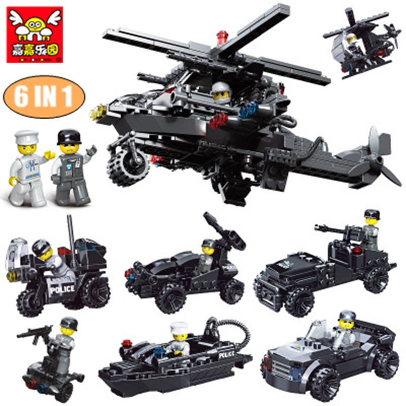 6 In 1 DIY Police Bricks Model building blocks compatible with Legoe City Figures Kits SWAT Educational toys building blocks set b1600 sluban city police swat patrol car model building blocks classic enlighten diy figure toys for children compatible legoe