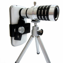 Universal Portable 12x smart mobile phone camera lens tripod kit clip professional telephoto lens for  Smart Mobile Phones 12x telephoto lens w tripod back case for samsung galaxy note 3 black silver