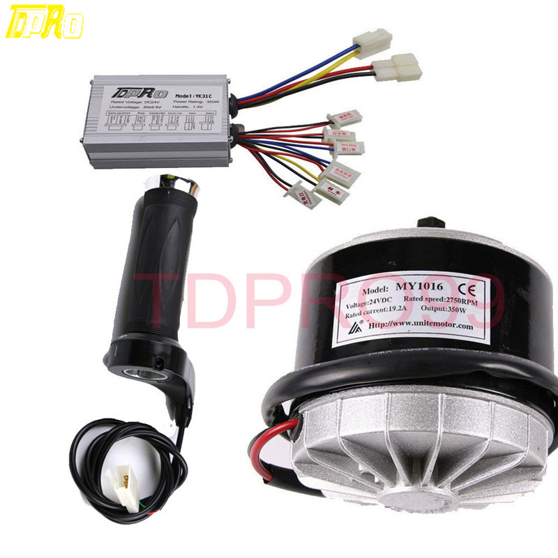 Original TDPRO 350W 24V Watt Motorcycle Brush Motor Electric kit Bicycle Go Kart Scooter Controller Box+Throttle Twist Grip цена