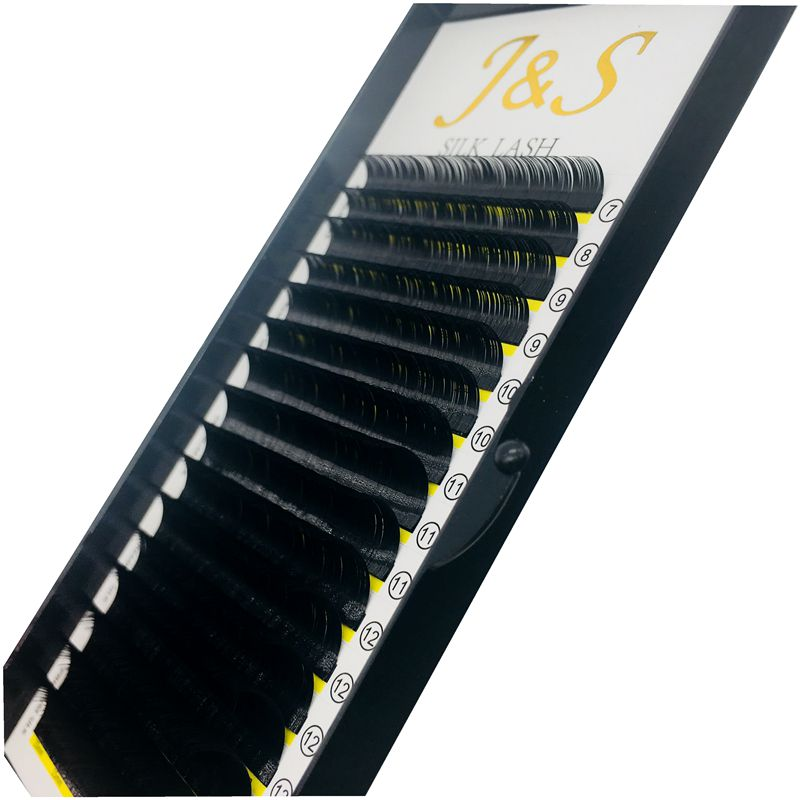 J S 5trays B C D curl 0 07mm 16lines super black silk individual eyelashes extensions in False Eyelashes from Beauty Health