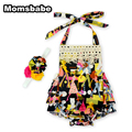 New Fashion 2017 Baby Girl Romper Ruffled Flower Rompers Dress Outdoor Outdoor Play Sunsuit Print Belt Sleeveless Clothing Sets