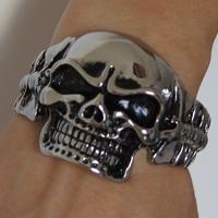 cool & vivid bone skull men/boy's jewelry heavy stainless steel bangle bracelet men jewelry bracelet