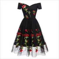 2018 New Women Dress Vintage Embroidery Rose Lace Mesh Dresses Female Lady S Pleated Dress High