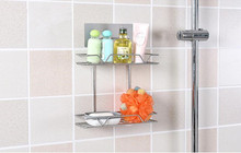 1PC Steel Two Layer Storage Basket Bathroom Products Luxury Cosmetic Shelf Holder Accessories OK 0722