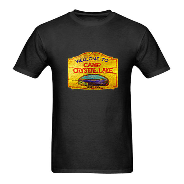 New CAMP CRYSTAL LAKE VINTAGE SIGN The 13 Friday Jason Horror 13th Black T-Shirt Casual Fitness Men T Shirts