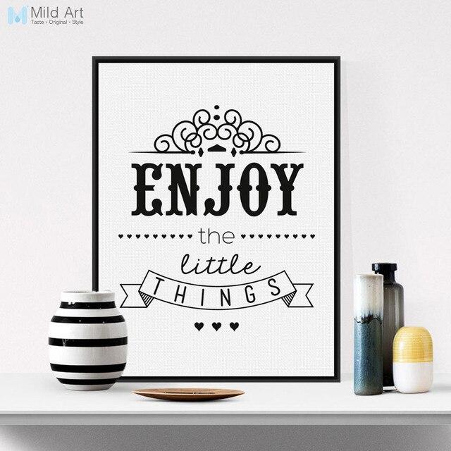 Black White Vintage Retro Motivational Enjoy Quotes Typography ...